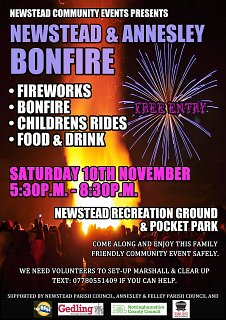 Newstead and Annesley Bonfire Event