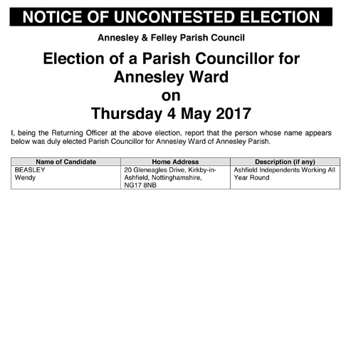Notice of uncontested election result